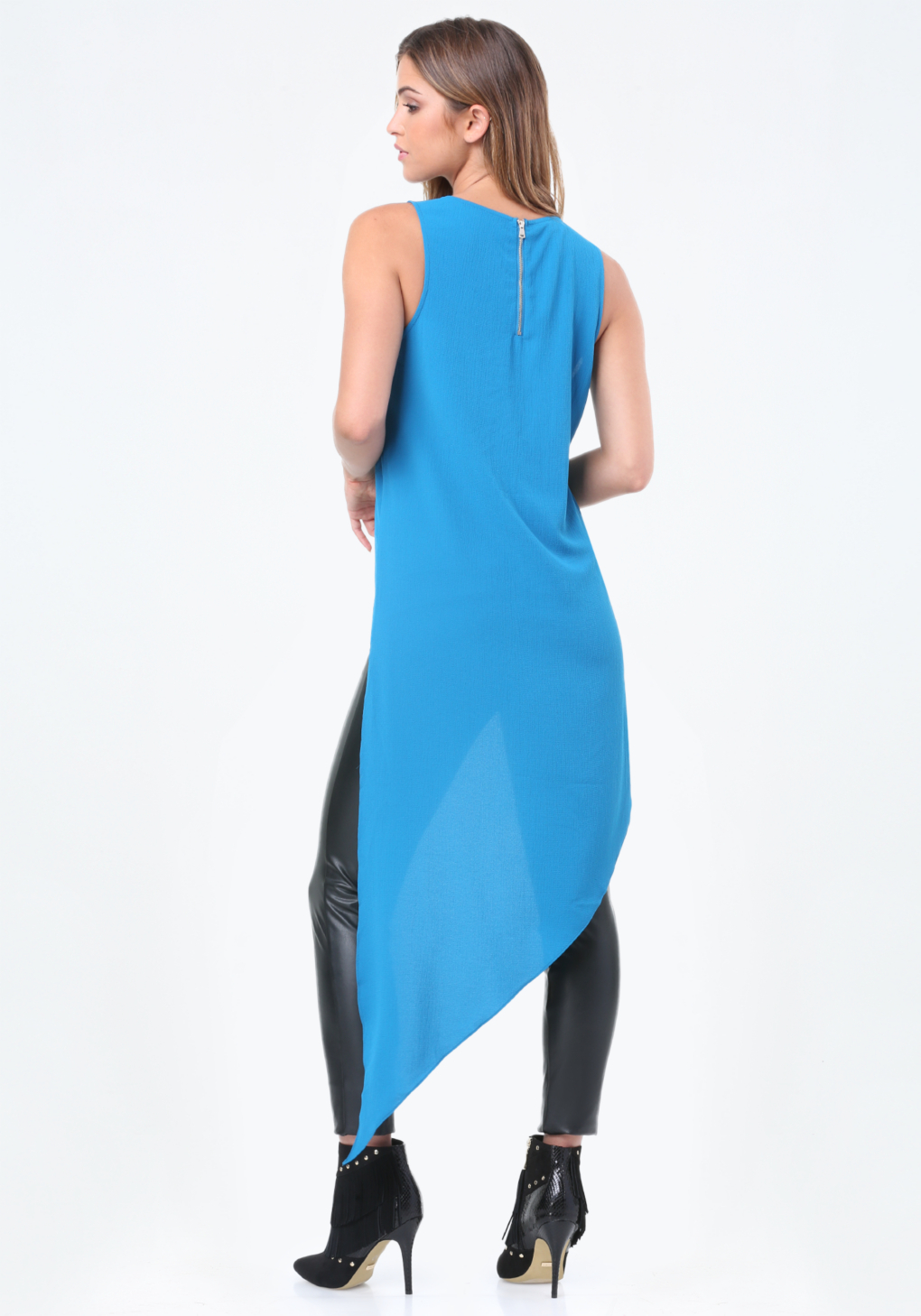 Bebe Synthetic Asymmetric Sleeveless Tunic in Blue