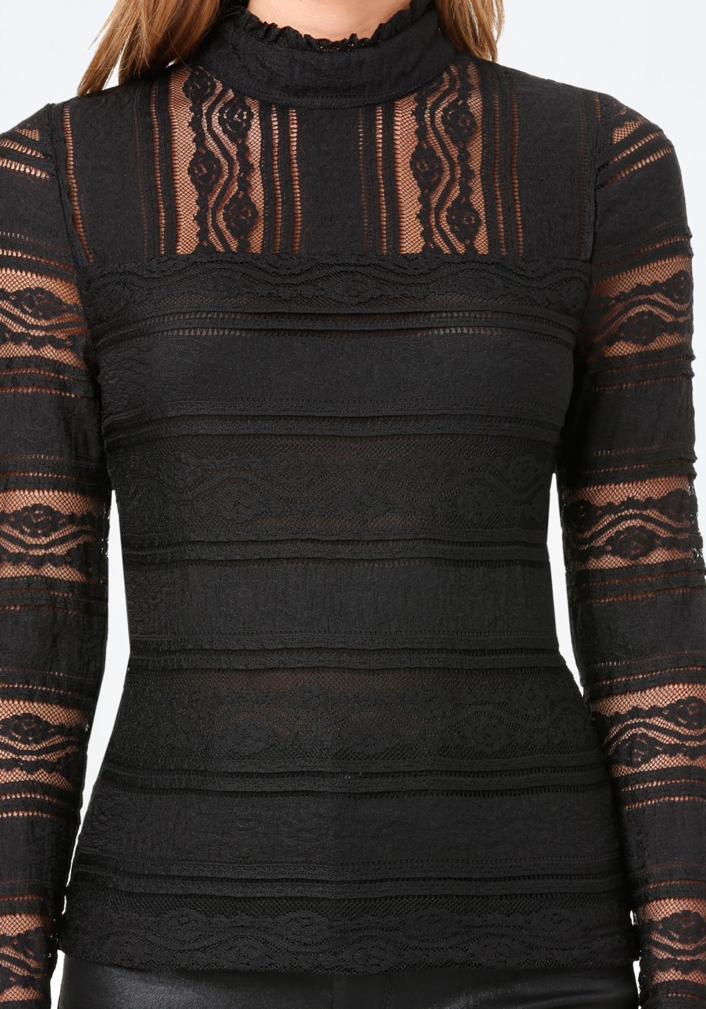 Bebe Lace Panel Mock Neck Top in Black