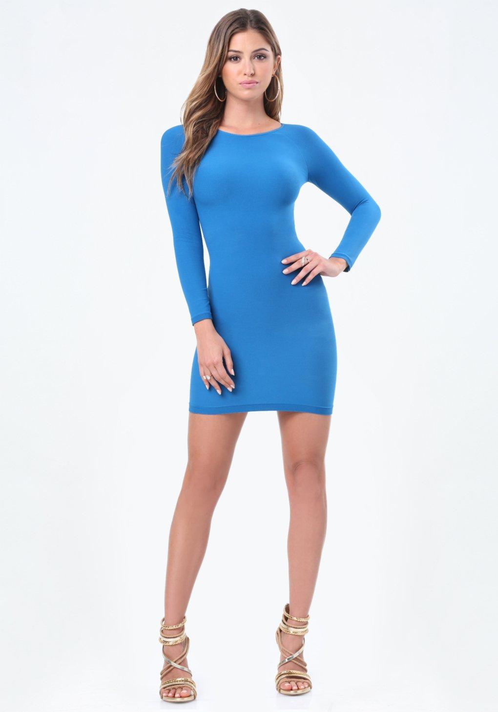 Lyst Bebe Raglan Sleeve Bodycon Dress In Blue