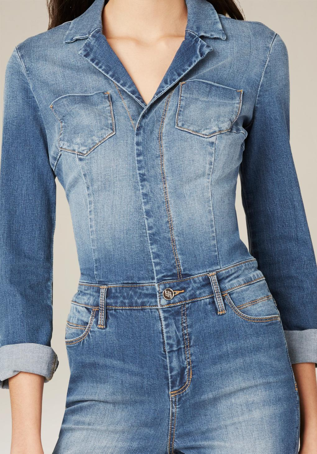 Lyst Bebe Denim Pocket Jumpsuit In Blue