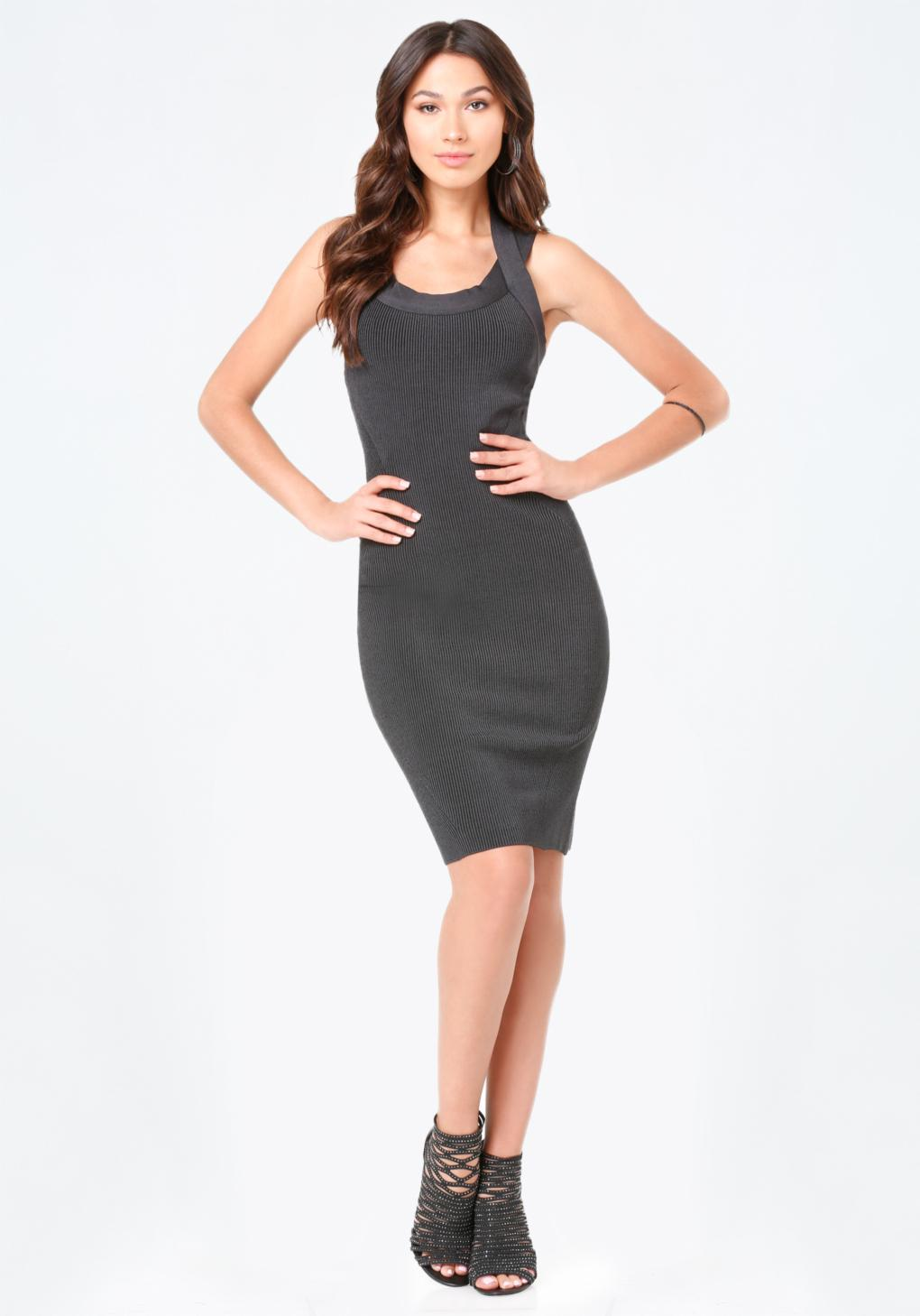 Bebe strappy ribbed dress lyst for Bebe dresses wedding guest