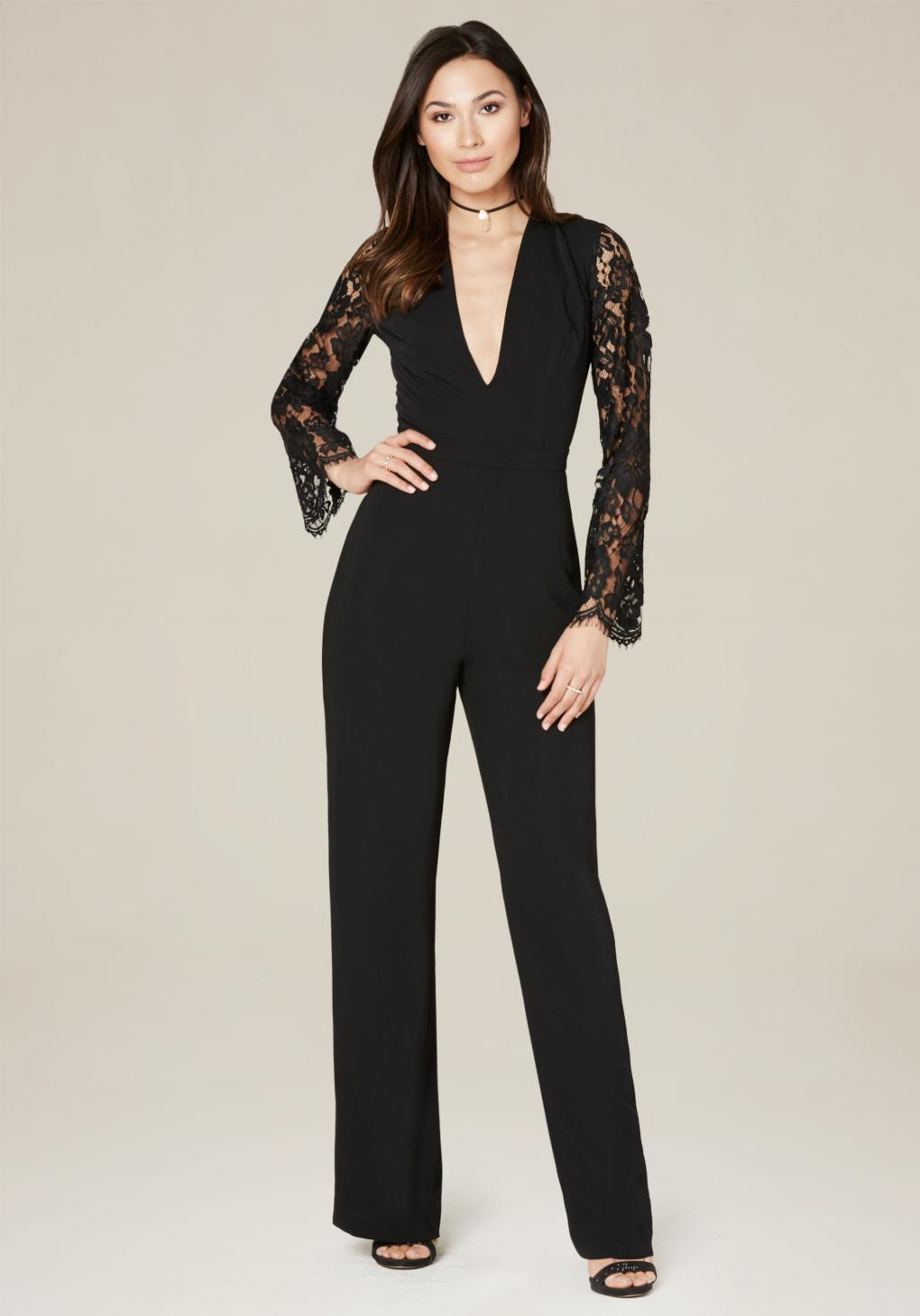 Bebe Lace Sleeve Jumpsuit in Black
