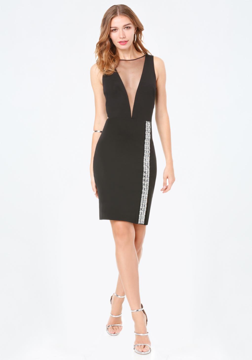 Bebe embellished plunge dress in black lyst for Bebe dresses wedding guest