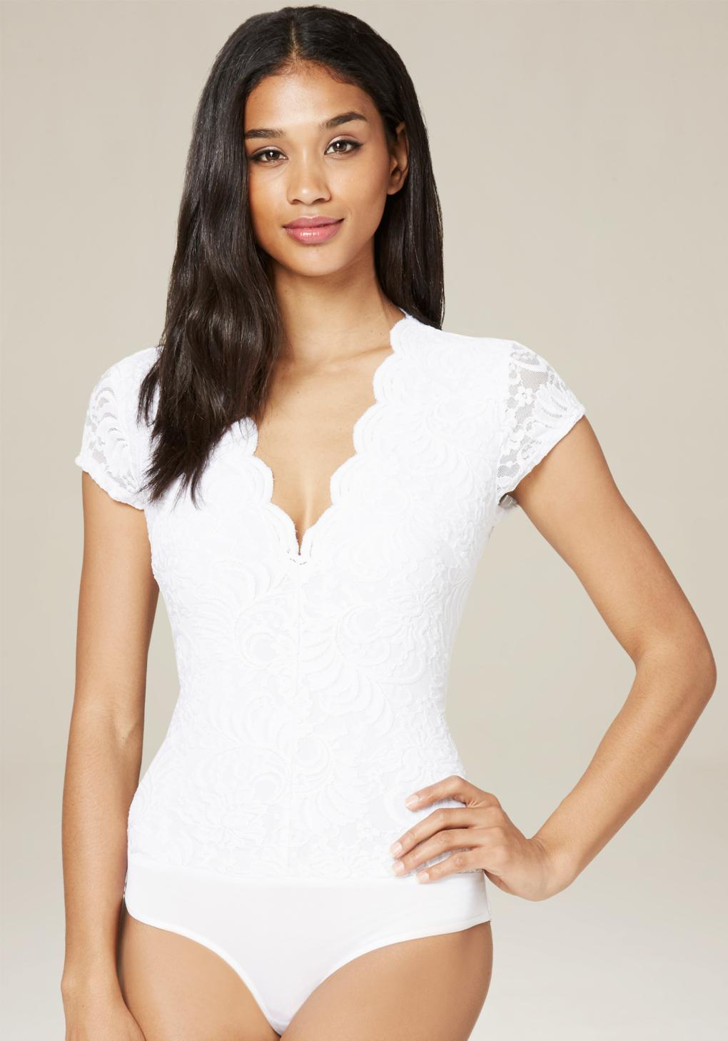Lyst - Bebe Lace Cap Sleeve Bodysuit in White