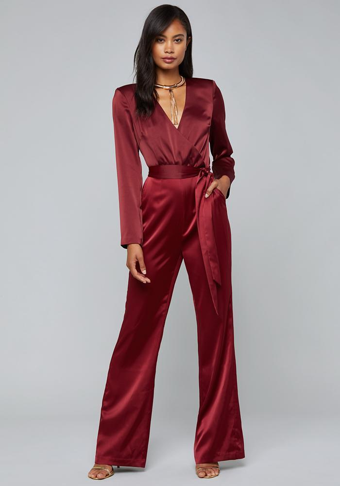 97fb6516d9e Lyst - Bebe Evening Surplice Jumpsuit in Red