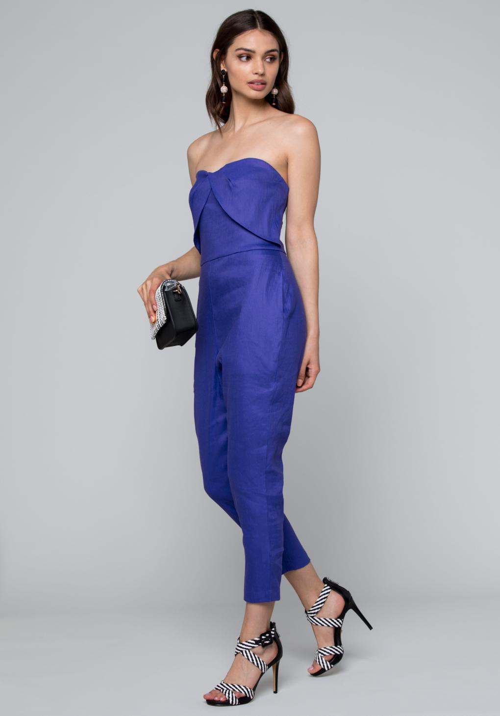 088d6cce4d0 Bebe Linen Bustier Jumpsuit in Blue - Lyst
