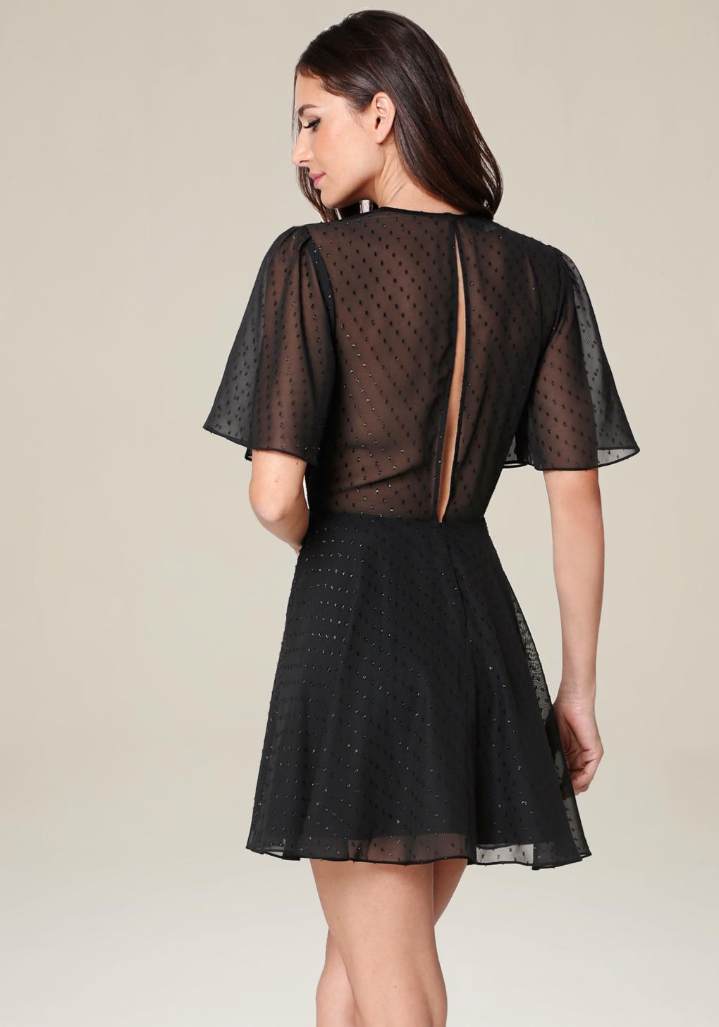 Lyst bebe dotted georgette dress in black for Bebe dresses wedding guest