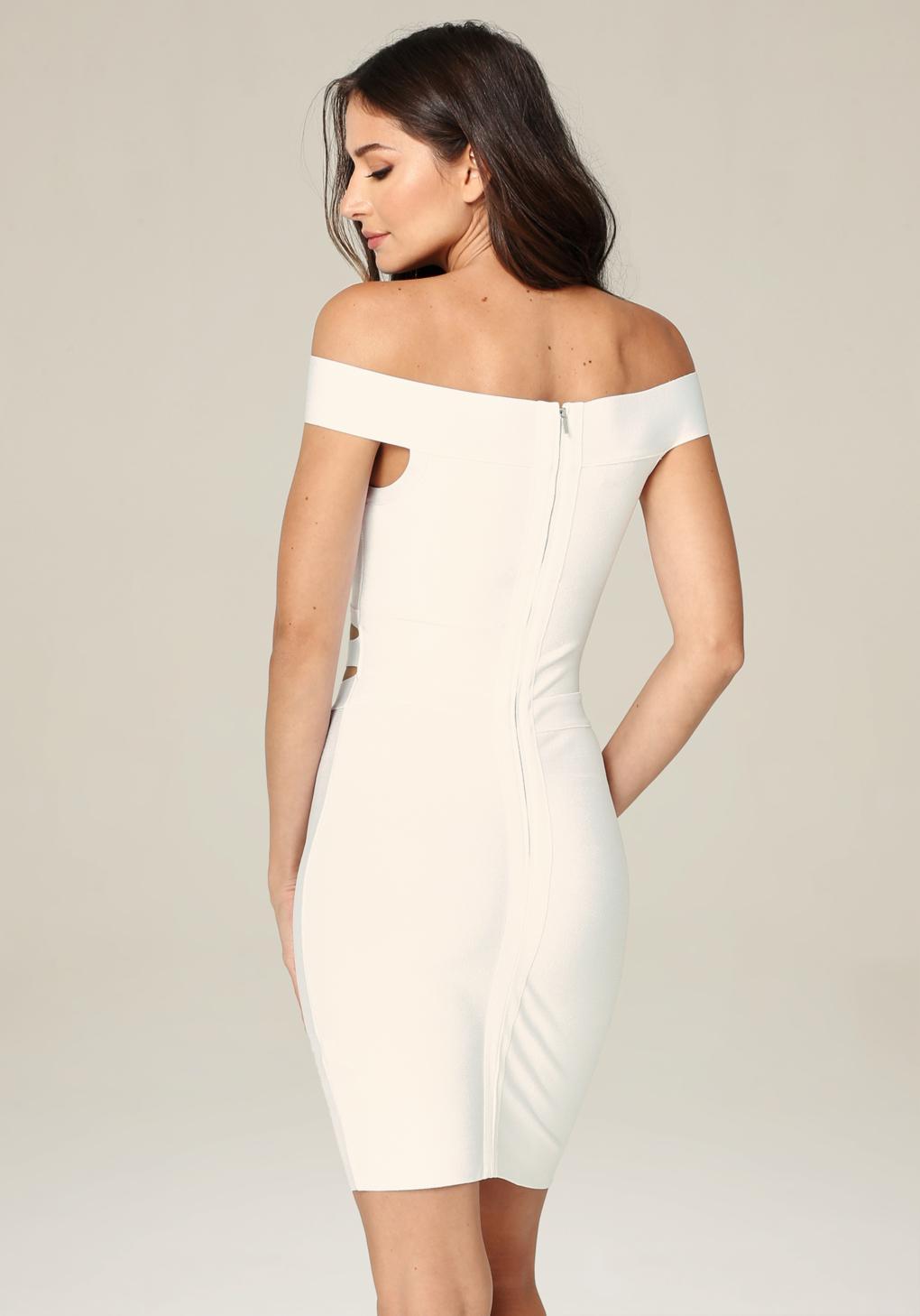 49e940b06e0 Bebe Off Shoulder Cutout Dress in White - Lyst