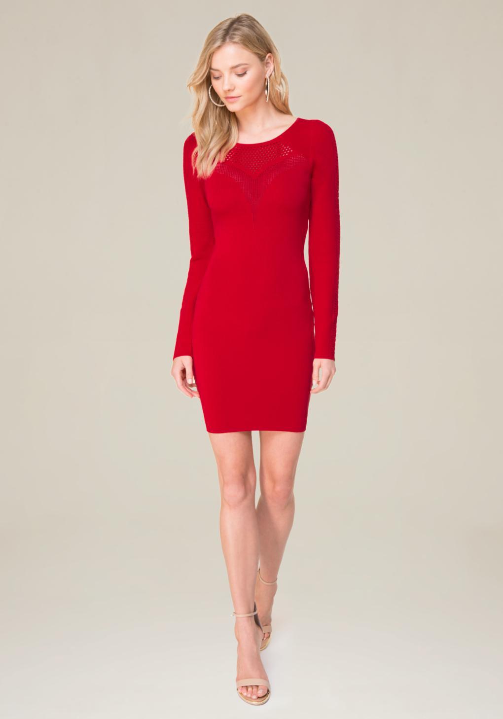 lyst bebe crochet inset dress in red. Black Bedroom Furniture Sets. Home Design Ideas