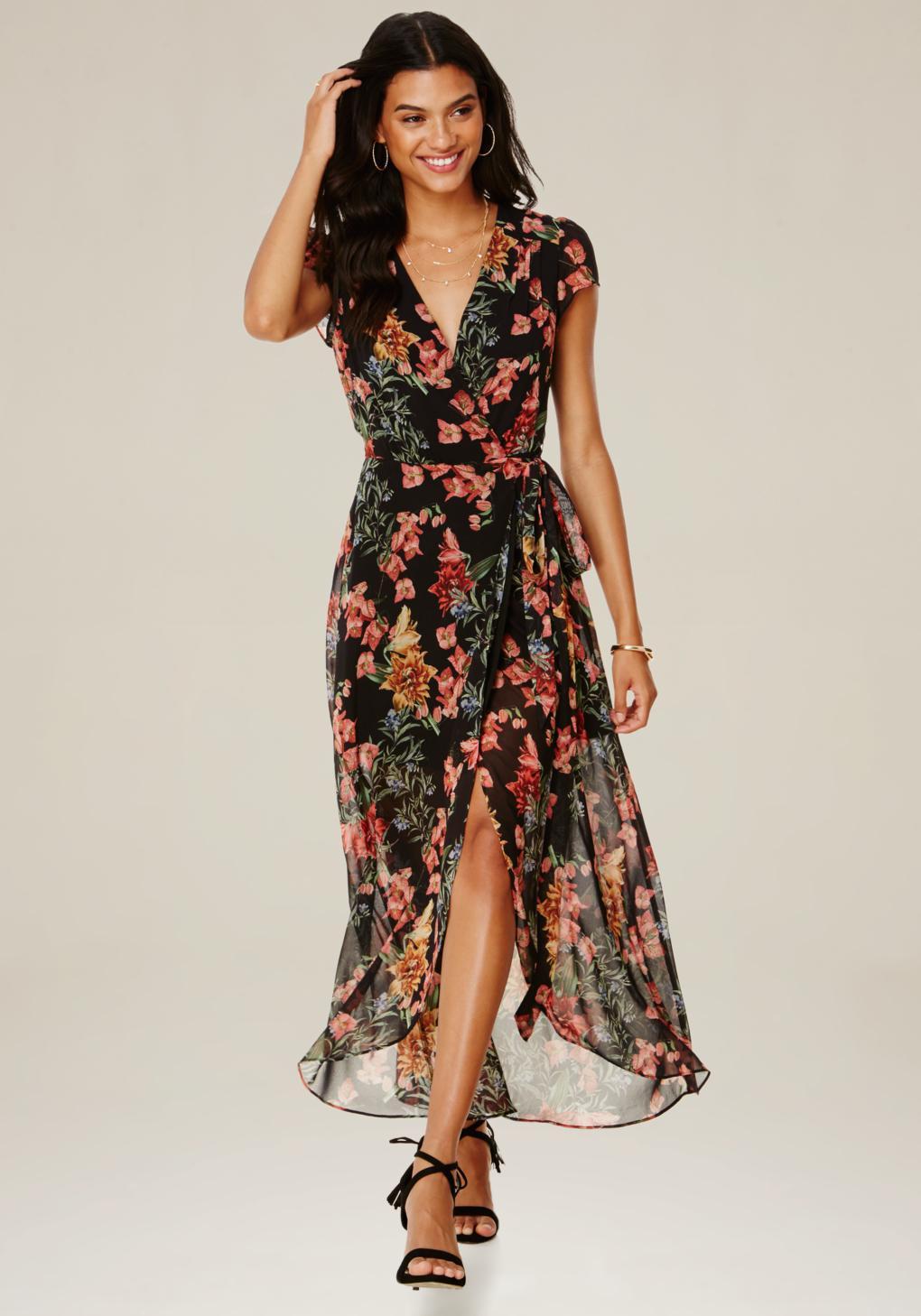 Lyst bebe print wrap maxi dress for Bebe dresses wedding guest