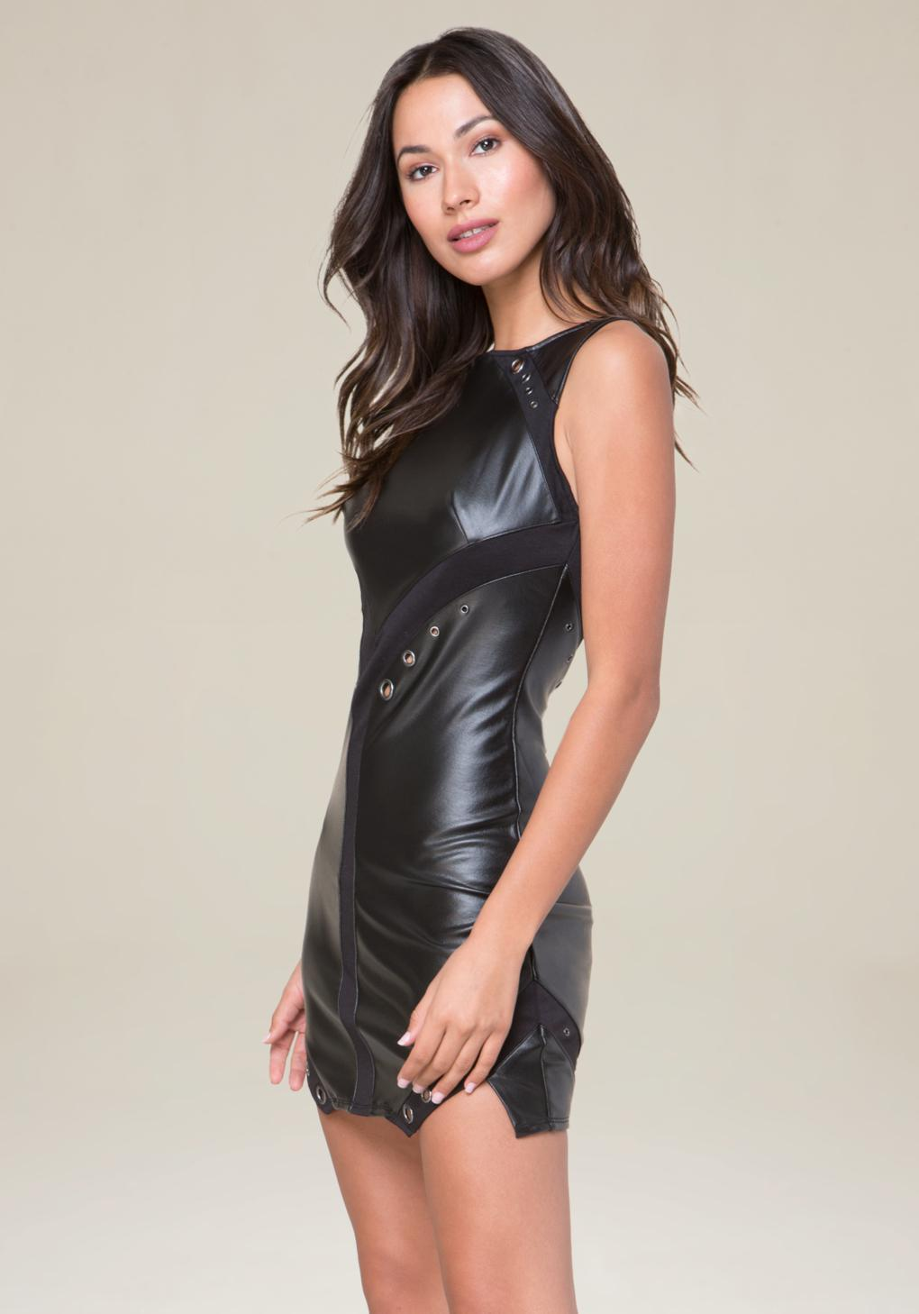Bebe Eyelet Faux Leather Dress In Black Lyst