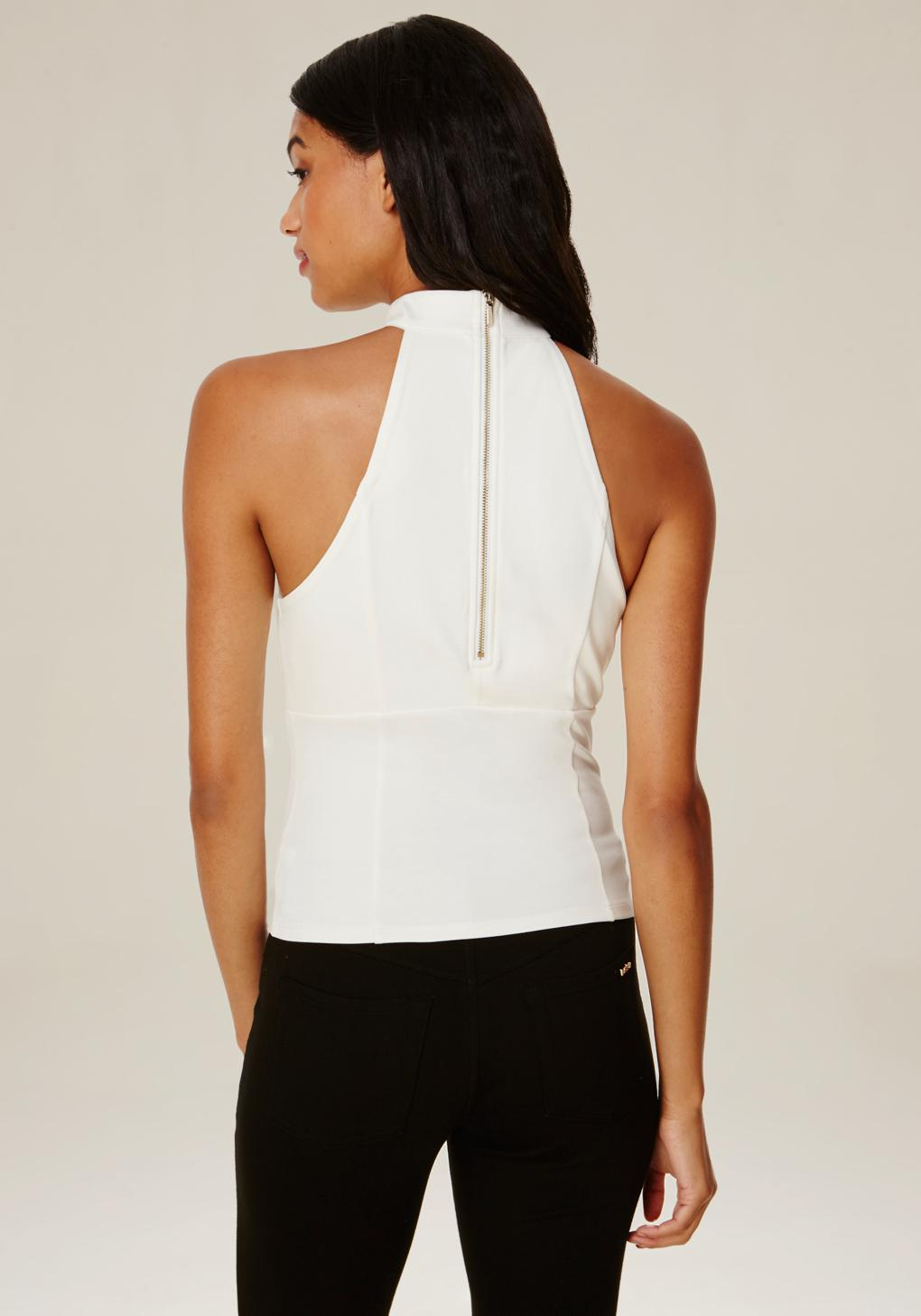 Bebe Synthetic Mock Neck Lace Up Top in White