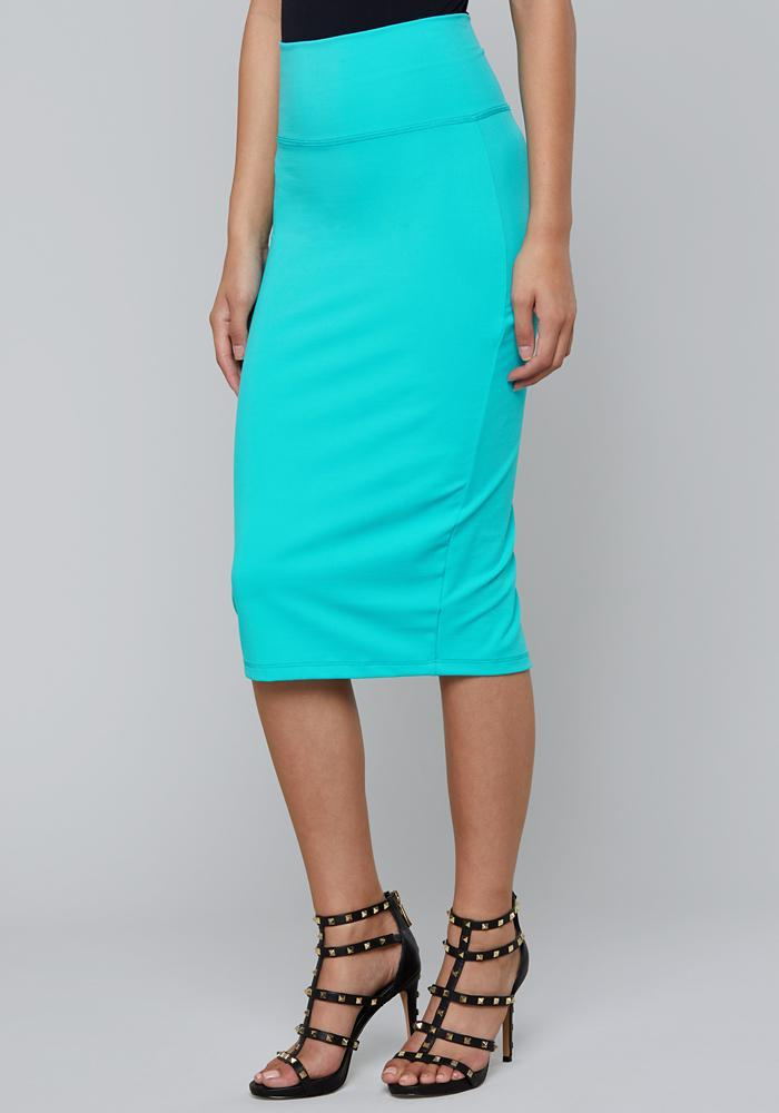 Bebe Synthetic Knit Midi Skirt in Turquoise (Blue)