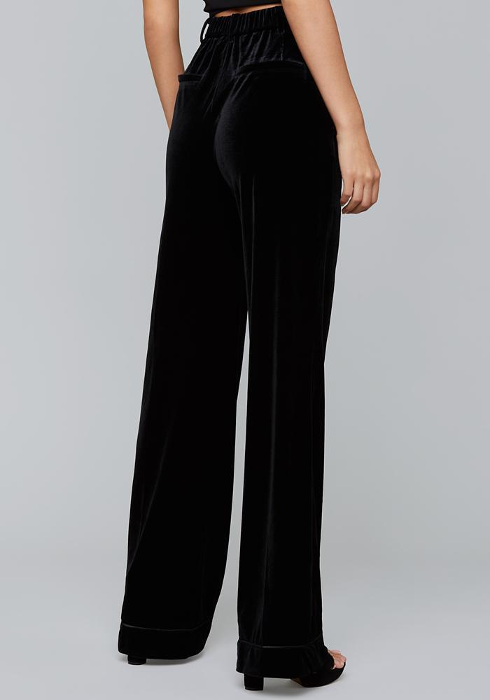 Halston Black velvet high waisted pants.