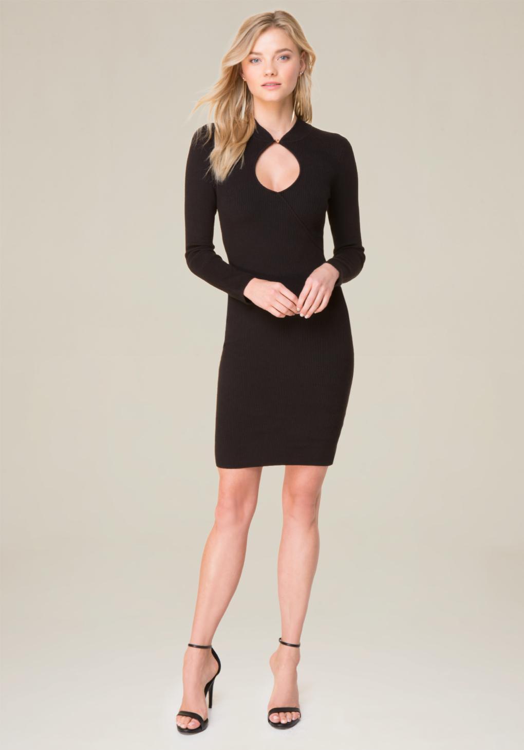 lyst bebe keyhole knit dress in black. Black Bedroom Furniture Sets. Home Design Ideas
