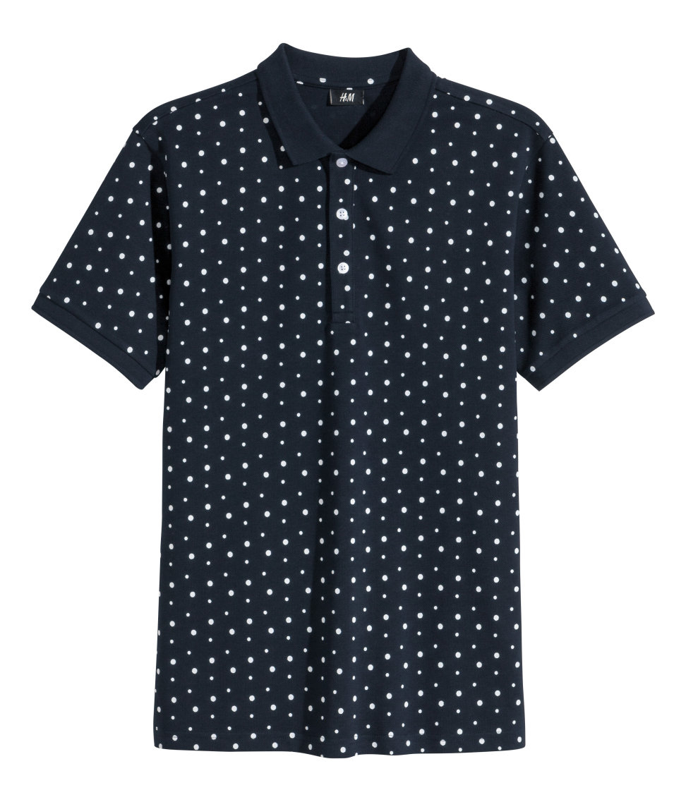 H m spotted polo shirt in blue for men lyst for H m polo shirt mens