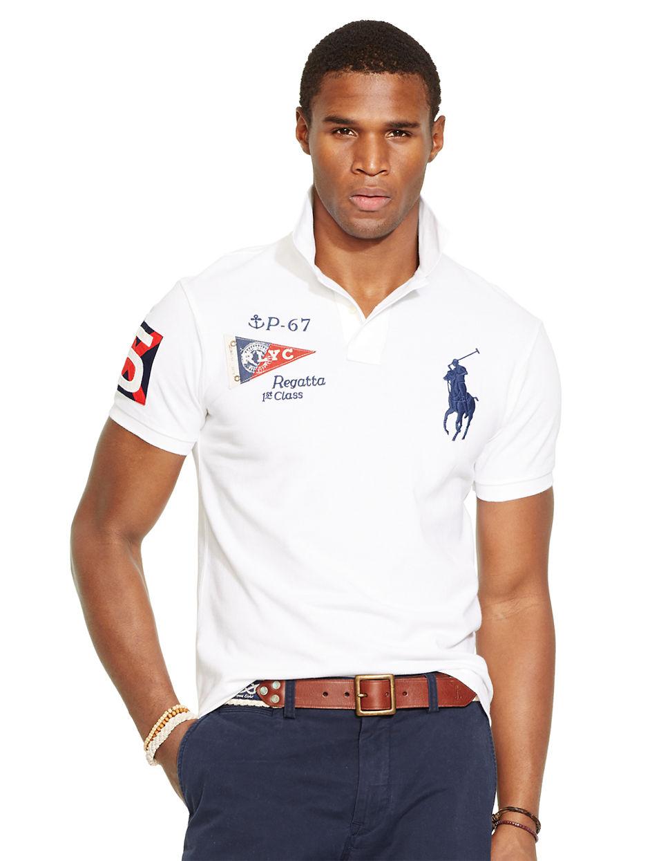 Polo ralph lauren custom fit yacht club mesh polo shirt in for Ralph lauren polo club shirts