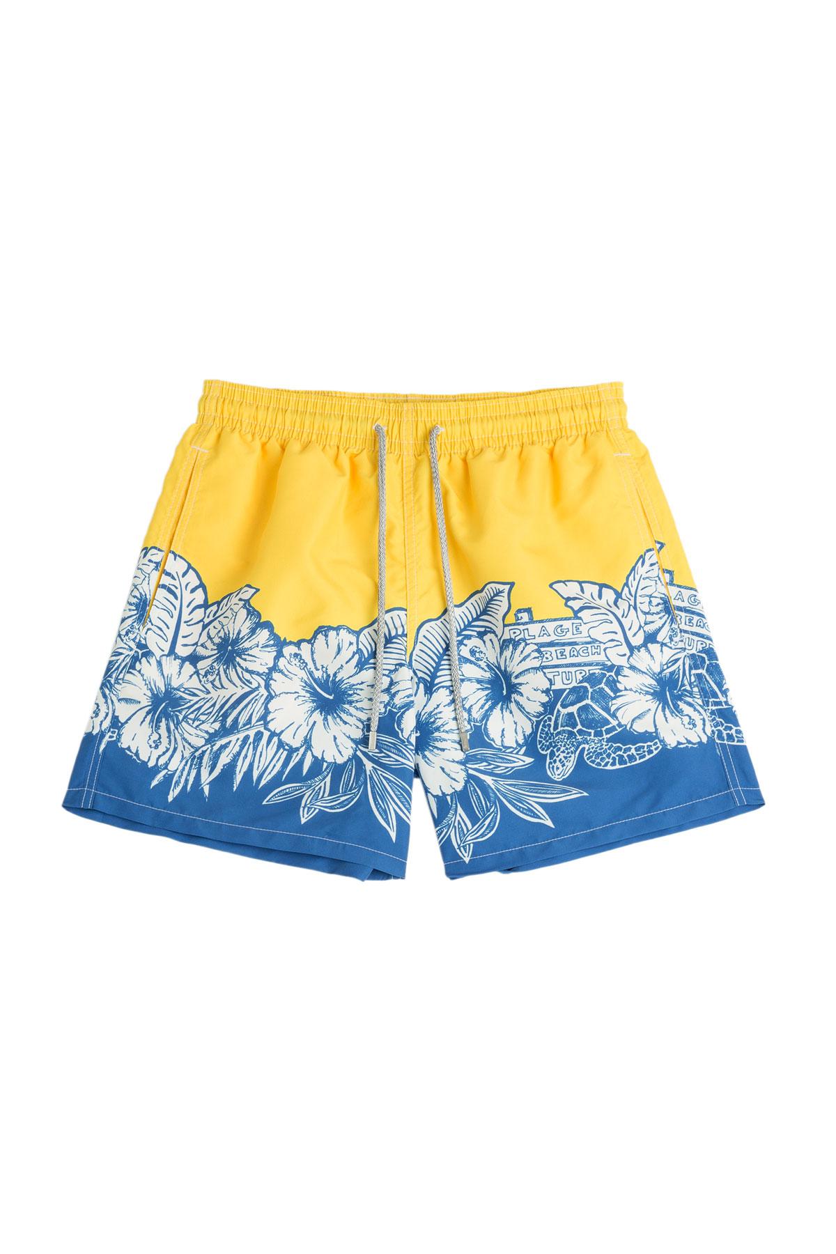 Mens Baby Blue And Yellow Swim Trunks 89
