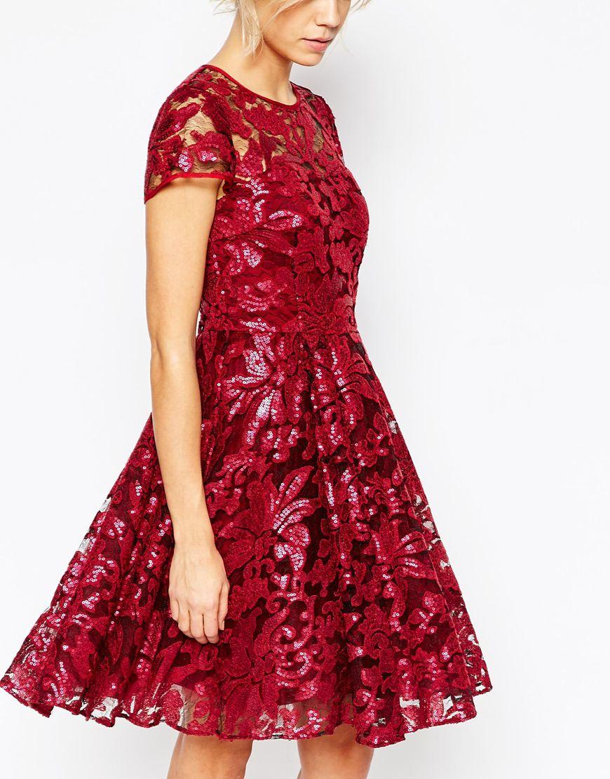 Ted Baker Synthetic Mahima Sequin Floral Full Skirt Dress