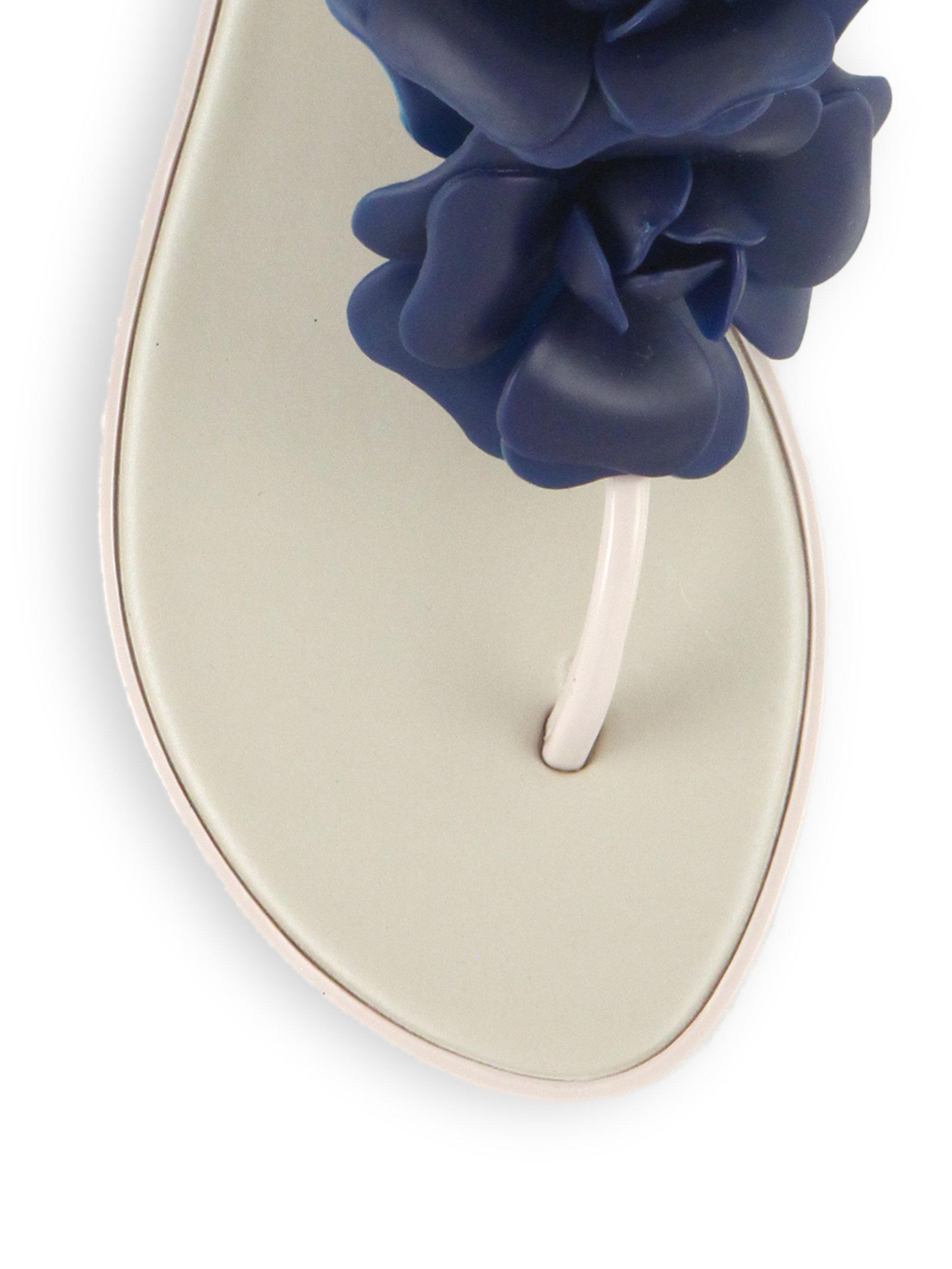 437295dd65179e Lyst - Melissa Solar Garden Rose T-strap Sandals in Blue
