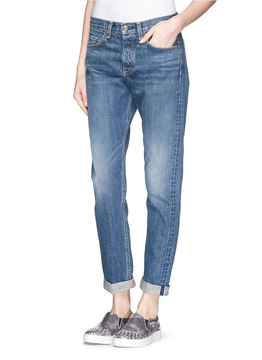 Lyst Rag Amp Bone Marilyn High Rise Boyfriend Jeans In Blue