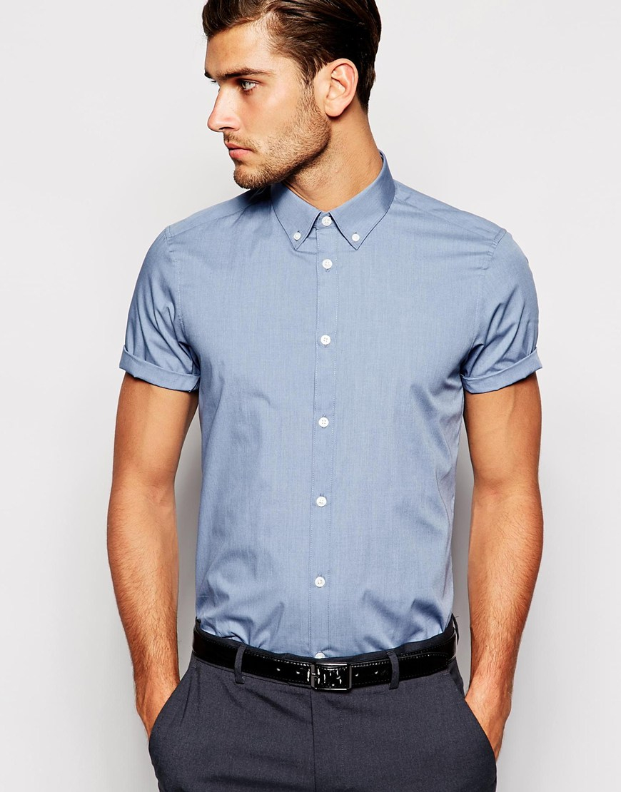 Asos Smart Shirt In Short Sleeve With Button Down Collar in Blue ...