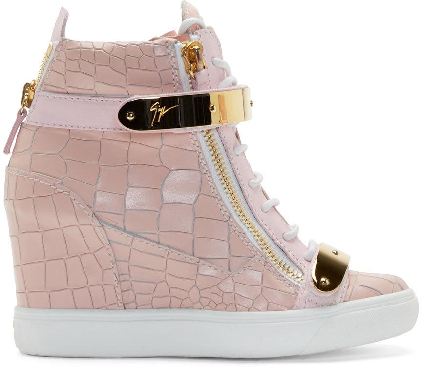 47b07b32bd6 Lyst - Giuseppe Zanotti Pink Lorenz High top Wedge Sneakers in Pink