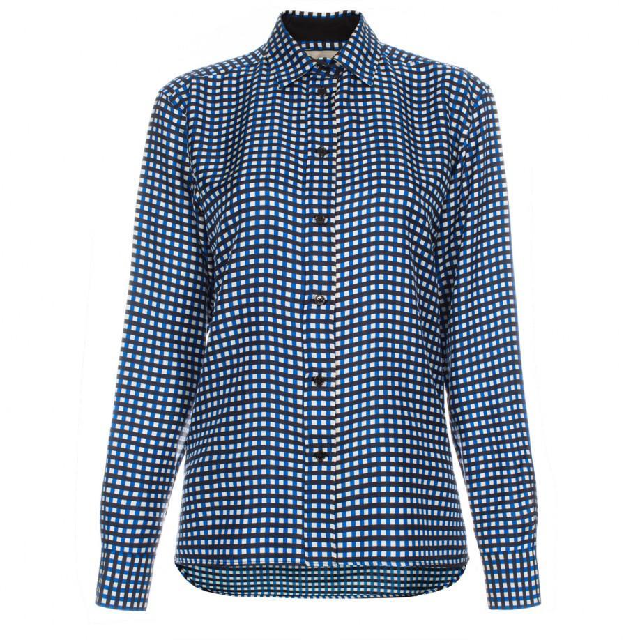 Paul Smith Women 39 S Blue Check Silk Shirt In Black For Men