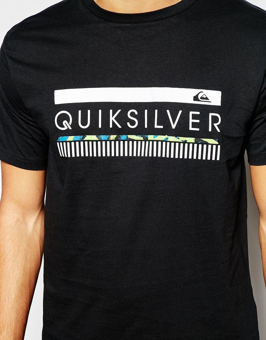 lyst quiksilver t shirt with logo print in black for men. Black Bedroom Furniture Sets. Home Design Ideas