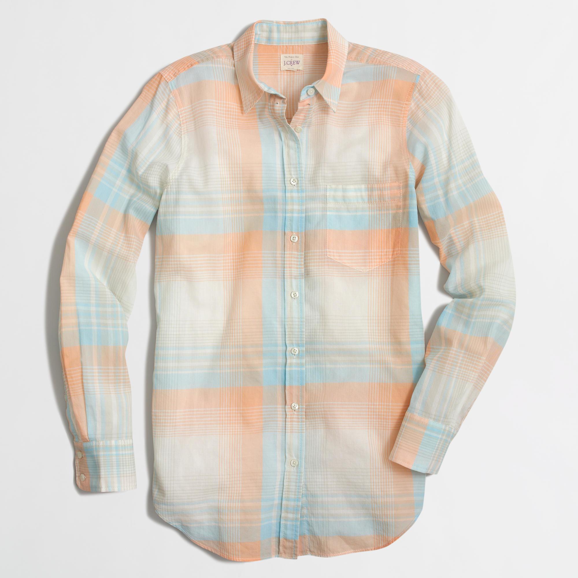 Lyst J Crew Factory Plaid Shirt In Orange