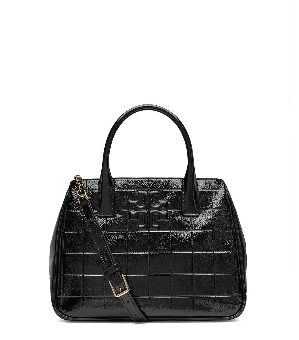 Tory Burch Marion Quilted Patent Tote In Black Lyst