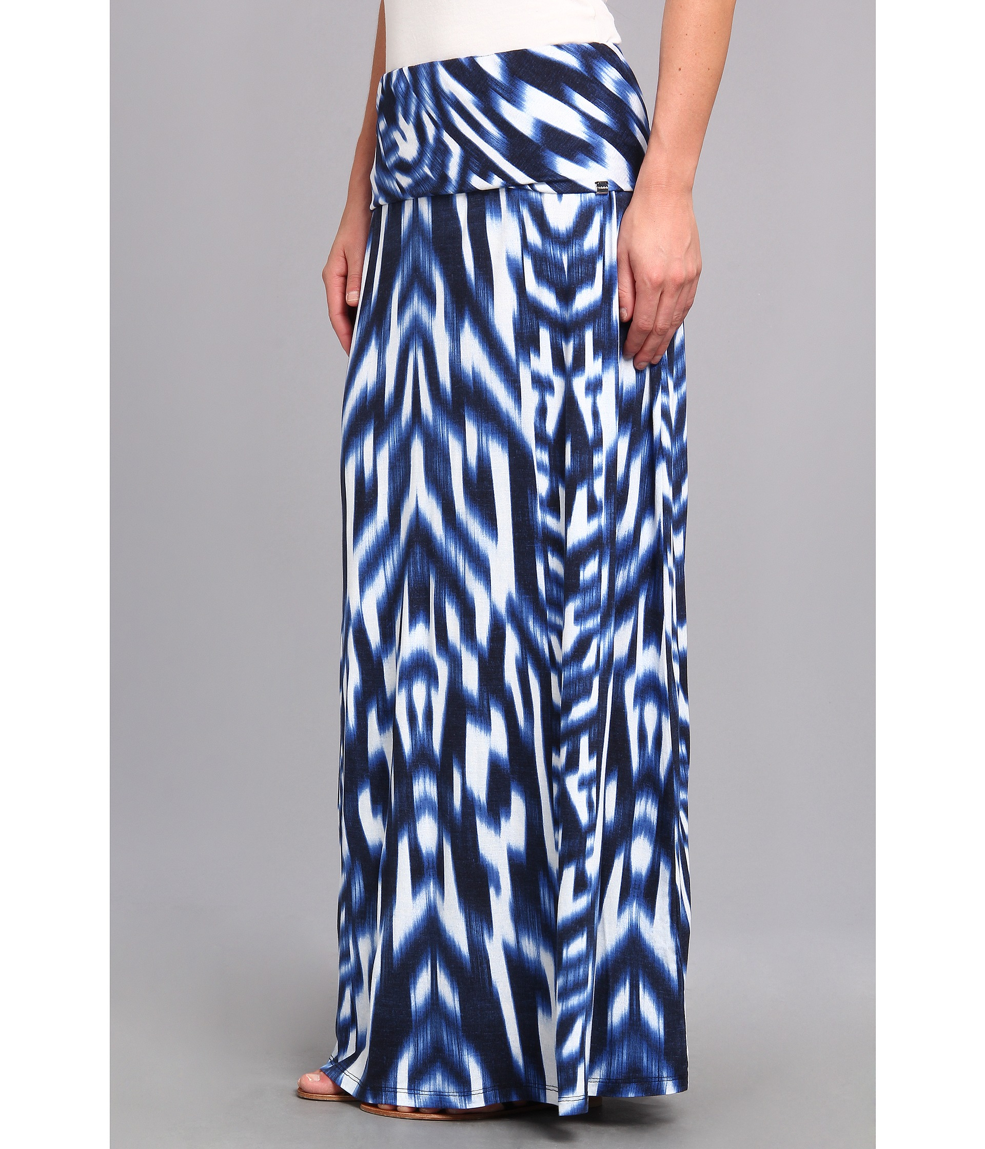 calvin klein print maxi skirt in blue regatta white lyst