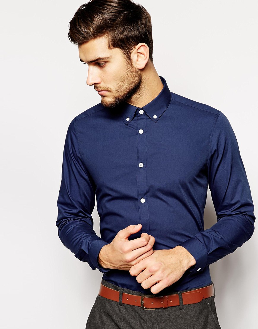 Lyst asos smart shirt in long sleeve with button down for Three button collar shirts