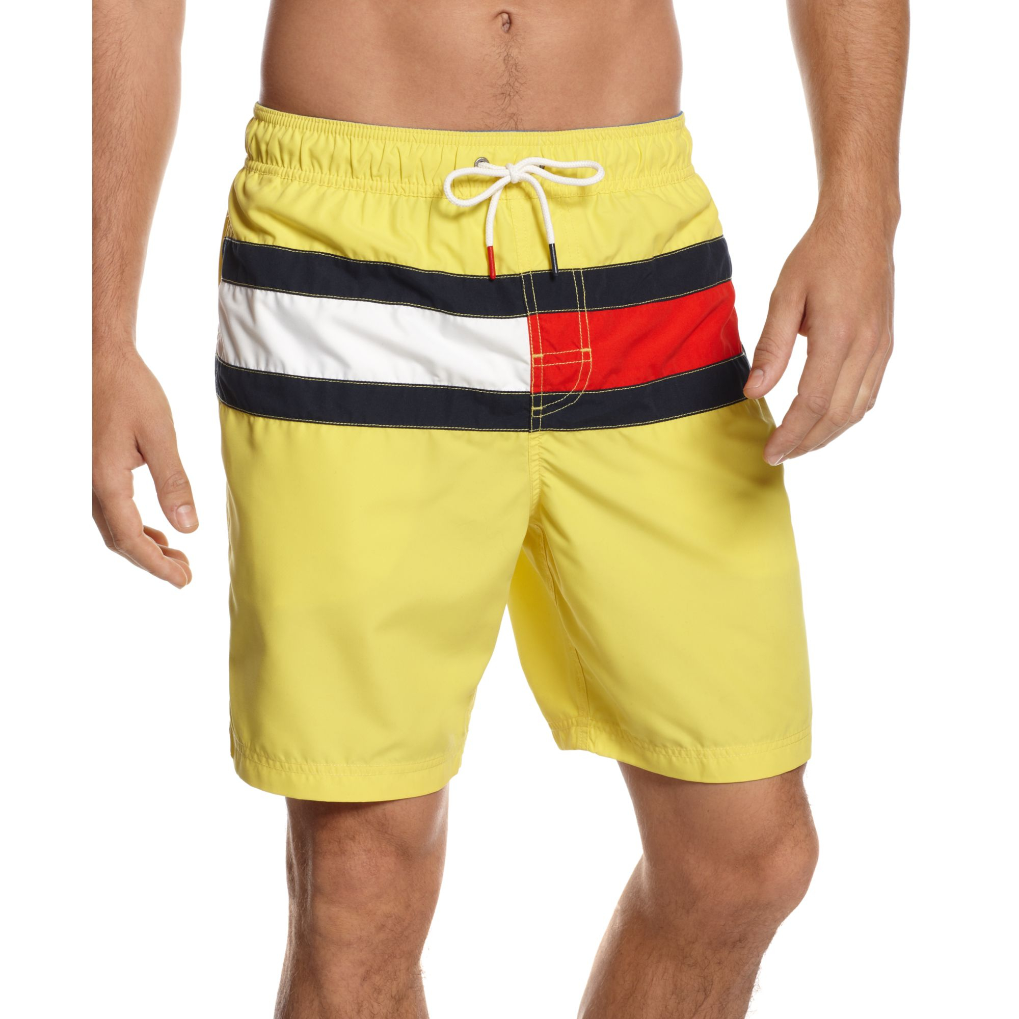 db16ded4bd649 Tommy Hilfiger Flag It Swim Trunks in Yellow for Men - Lyst
