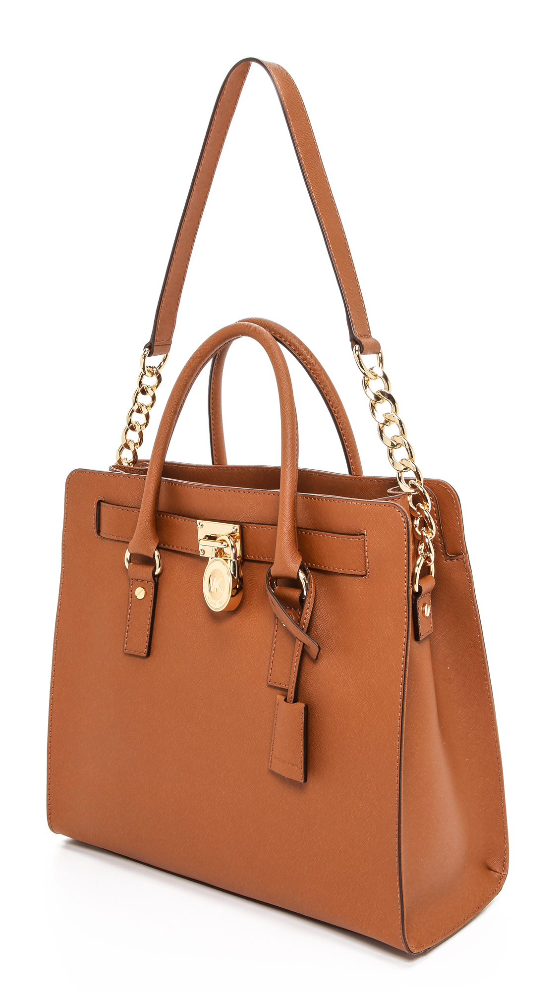2ce1375de60a Lyst - MICHAEL Michael Kors Hamilton Large N S Tote Luggage in Brown
