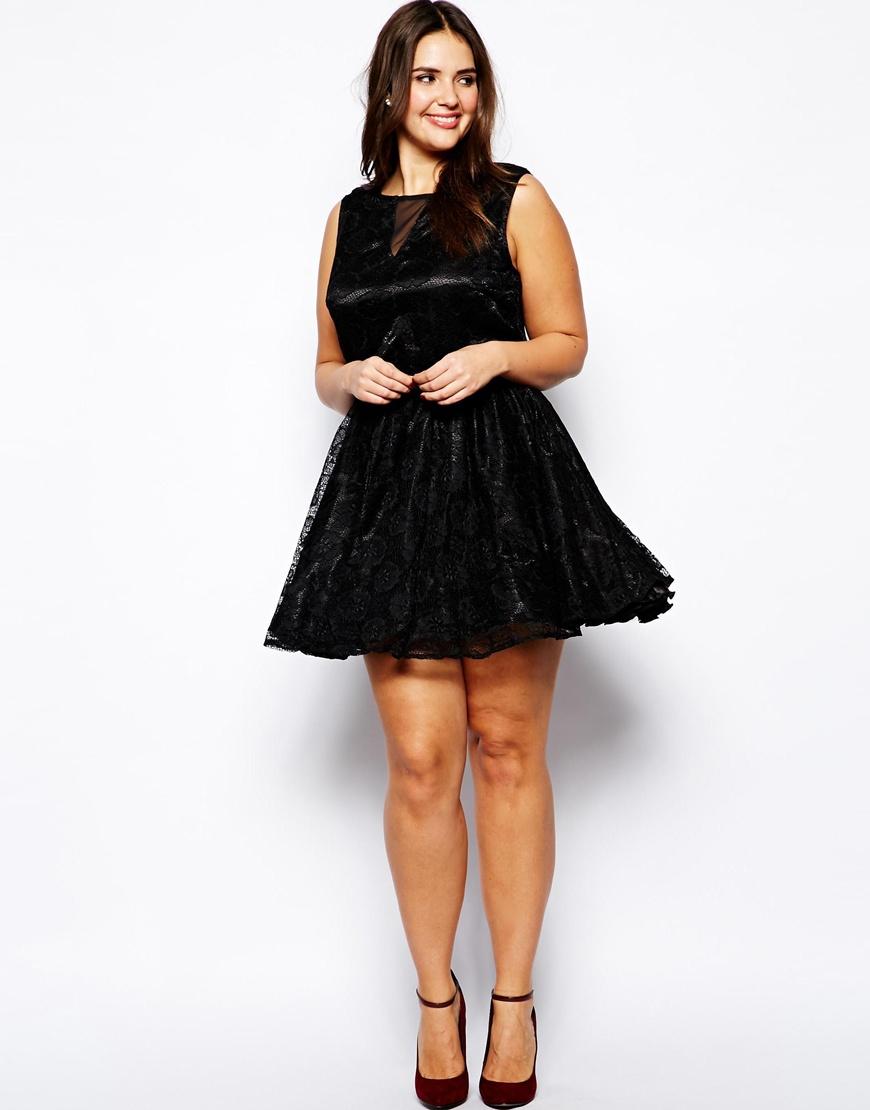 Ax paris Plus Size Lace Mesh Skater Dress in Black | Lyst