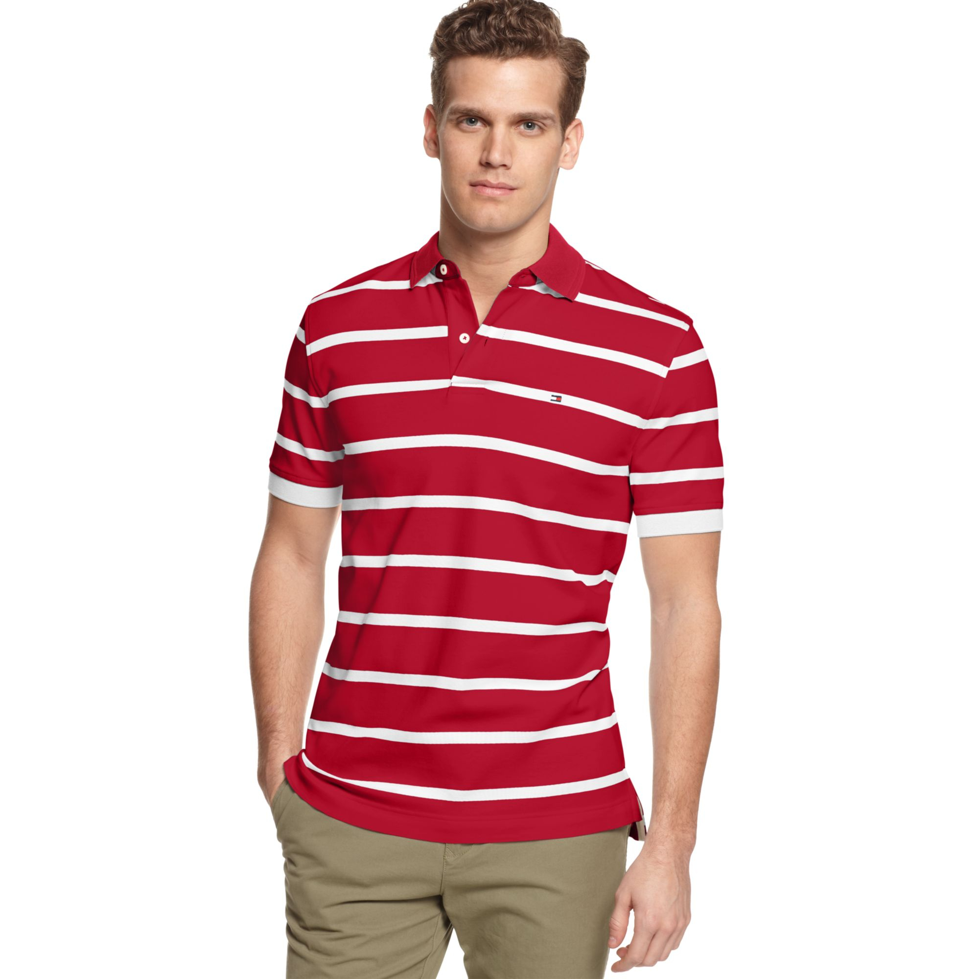 tommy hilfiger jackson striped polo shirt in red for men. Black Bedroom Furniture Sets. Home Design Ideas