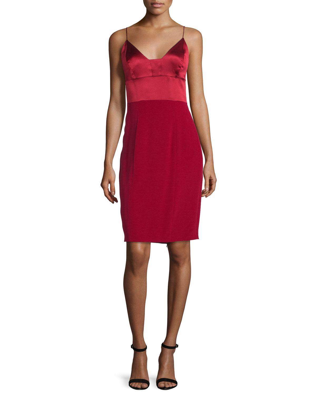 6ce8da87ad Narciso Rodriguez Spaghetti-strap Silk Cocktail Dress in Red - Lyst