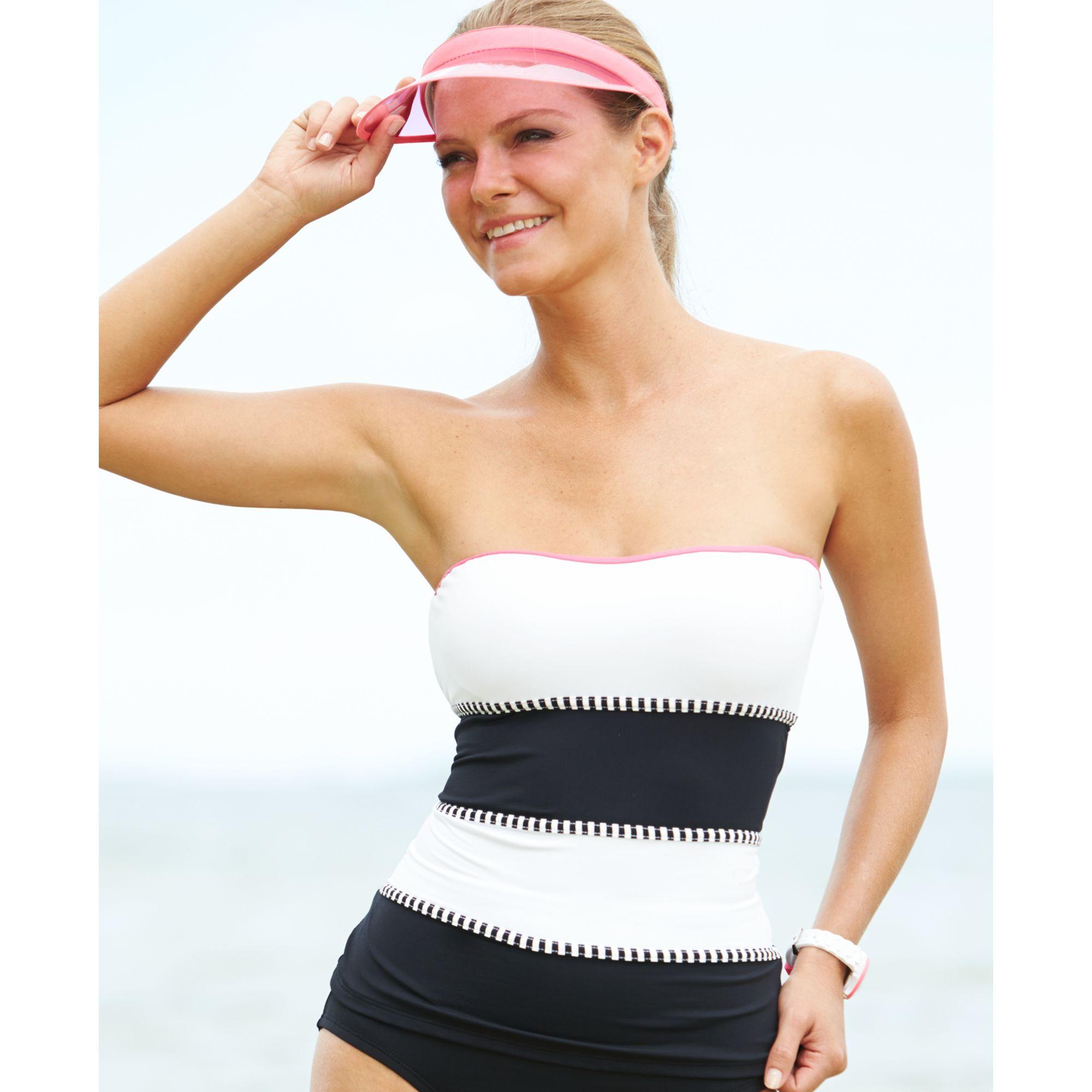 f5042b362a8 Anne Cole Colorblock Striped Bandeau Tankini Top in Black - Lyst