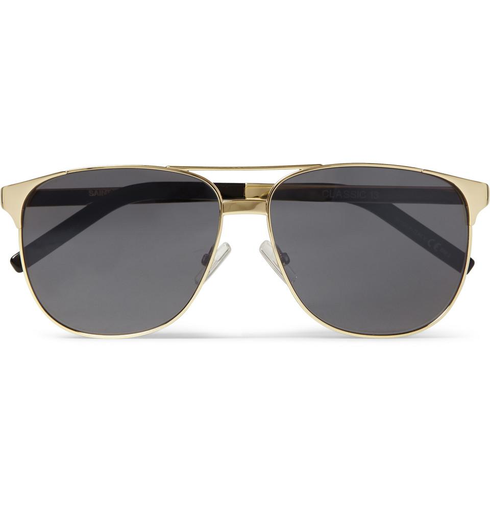 2577dec3e1 Lyst - Saint Laurent Classic 13 Squareframe Metal Sunglasses in Metallic  for Men