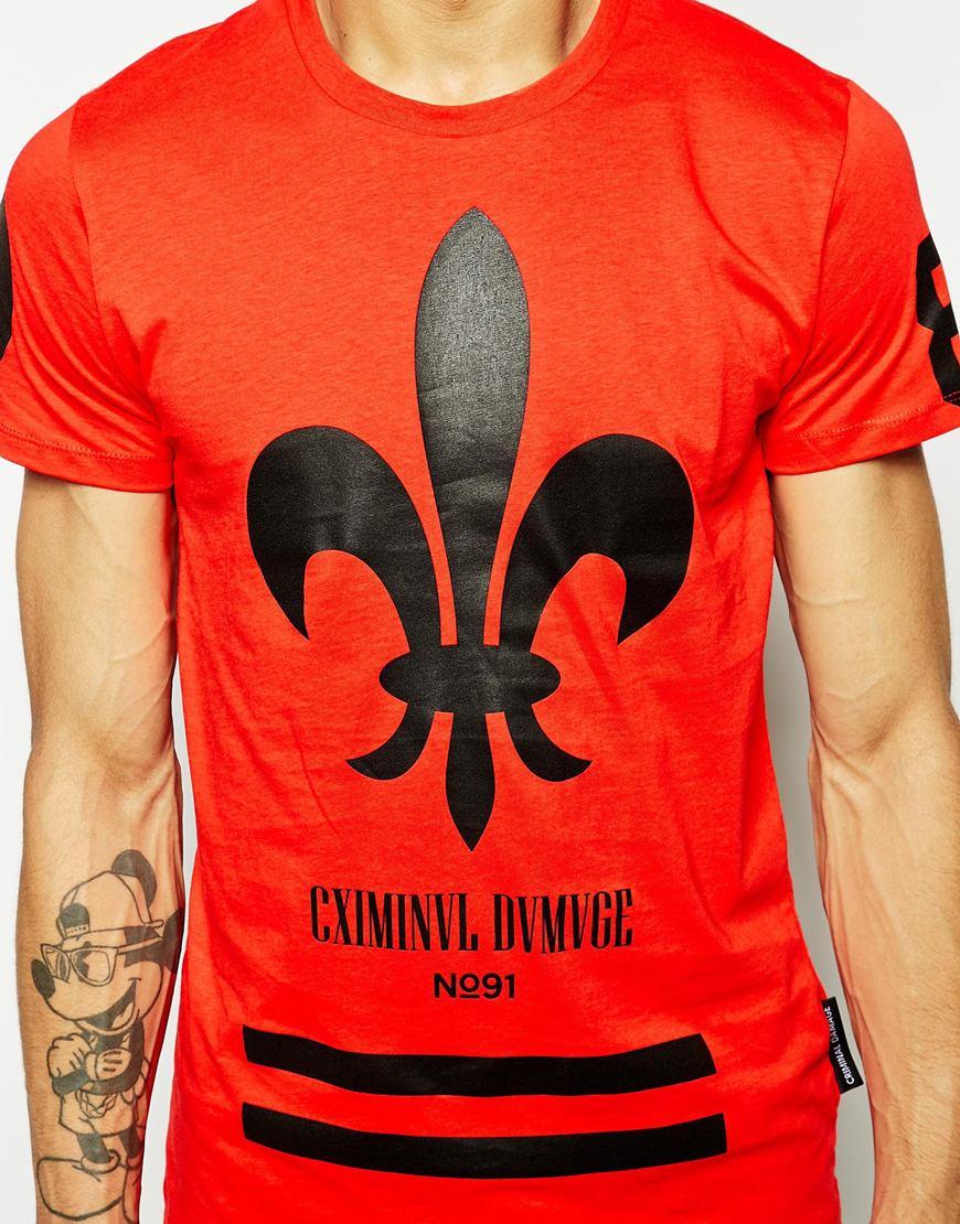 criminal damage fleur t shirt in red for men lyst. Black Bedroom Furniture Sets. Home Design Ideas