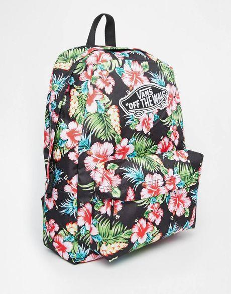 Vans Realm Backpack In Black Hawaiian Print in Multicolor ...