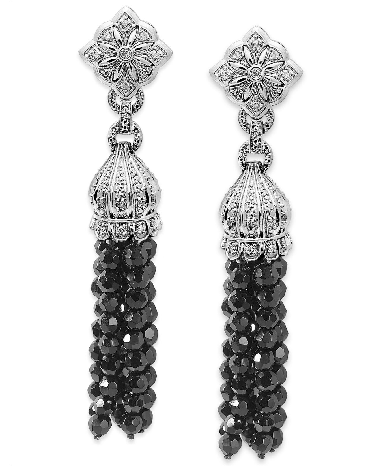 Macy S Sterling Silver Earrings Faceted Onyx 39 5 8 Ct T W