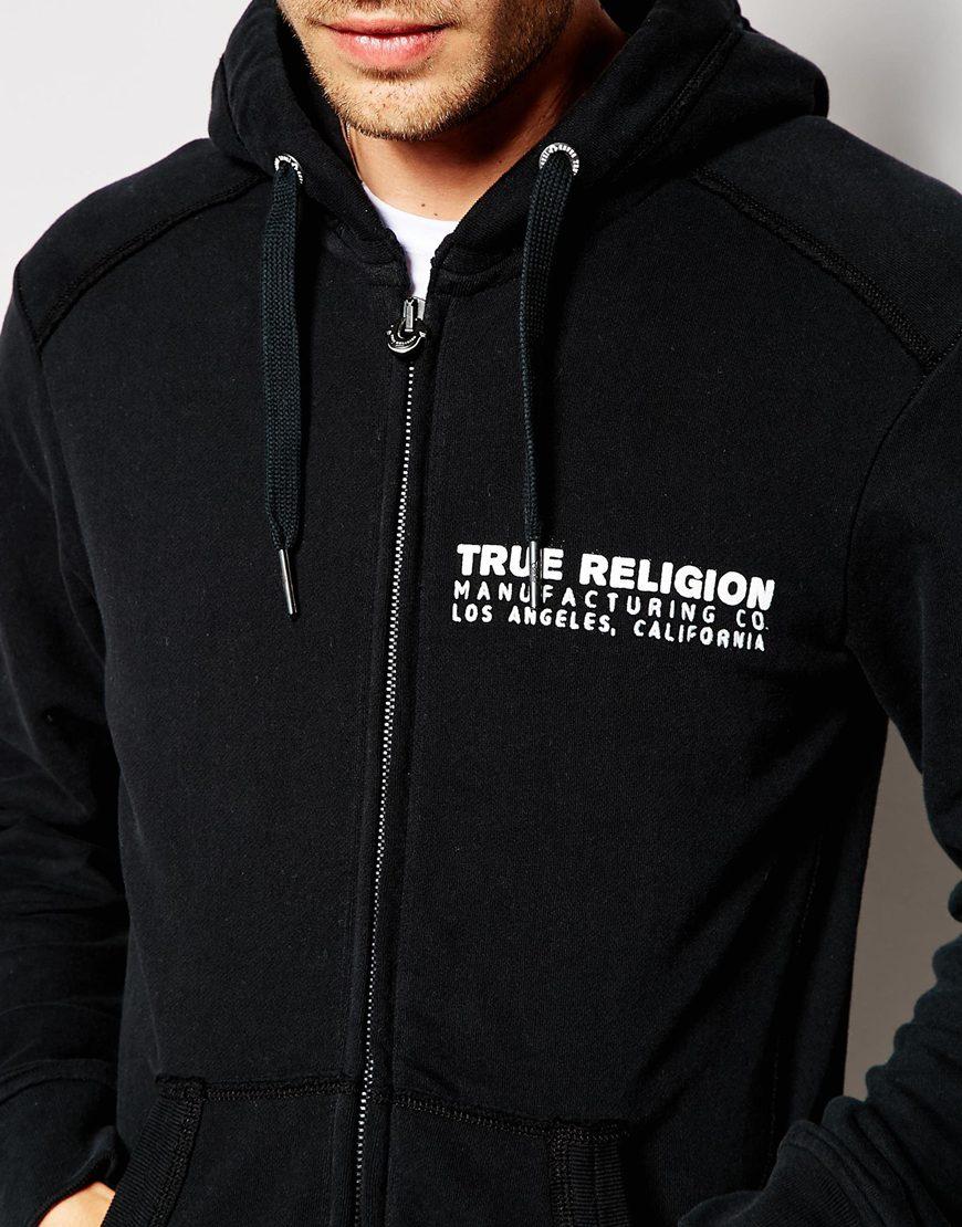 lyst true religion hoodie zip thru artwork in black for men. Black Bedroom Furniture Sets. Home Design Ideas