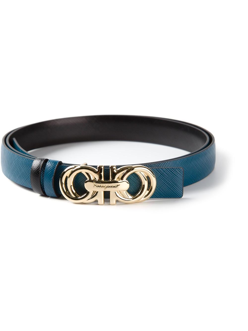 Ferragamo Logo Buckle Belt In Blue Lyst