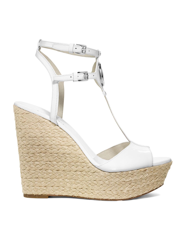 Lyst Michael Kors Keely Logo Wedge Sandal In White