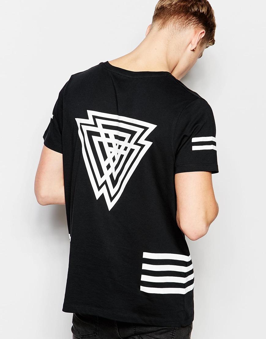 jack jones skater t shirt with back print in black for men lyst. Black Bedroom Furniture Sets. Home Design Ideas
