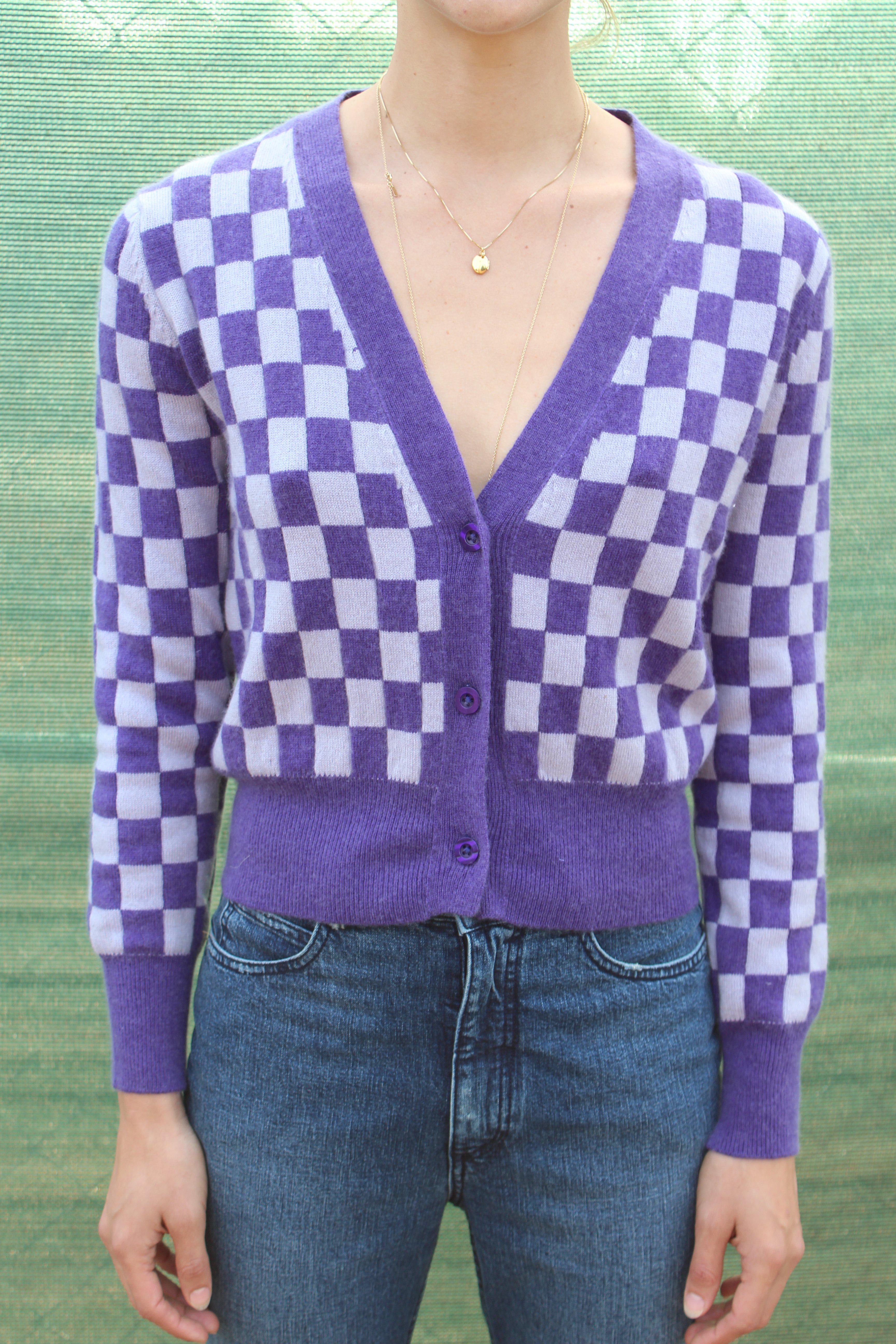 Beklina Cashmere Cardigan Checkerboard Purple/lilac in Purple | Lyst