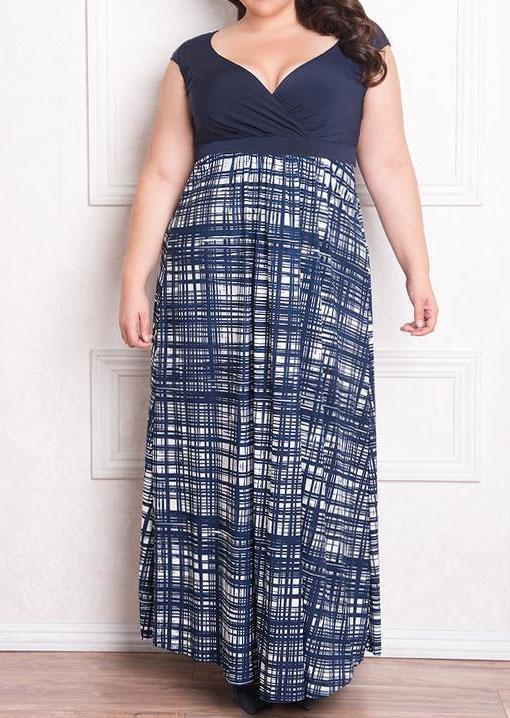 e255136ab1f Belle Lily. Women s Blue Plus Size Striped Splicing Wrap V-neck Maxi Dress