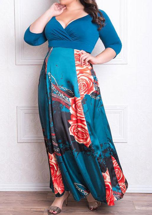 28f8eb1a25a Belle Lily. Women s Blue Plus Size Floral Wrap V-neck Maxi Dress